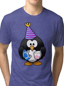 Personalized birthday card penguin geek funny nerd Tri-blend T-Shirt