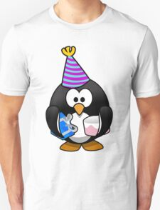 Personalized birthday card penguin geek funny nerd Unisex T-Shirt