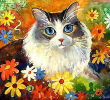 Whimsical Cat painting in flowers Svetlana Novikova by Svetlana  Novikova