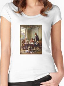 Writing The Declaration of Independence Women's Fitted Scoop T-Shirt