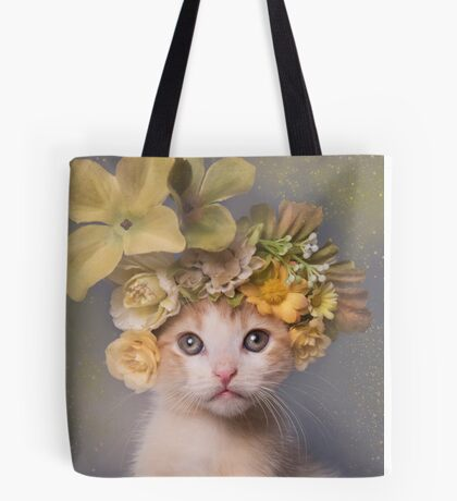 Flower Power, Bull the Kitten Tote Bag