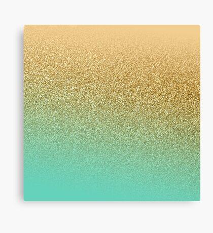 Gold Glitter Aqua Gradient Canvas Print
