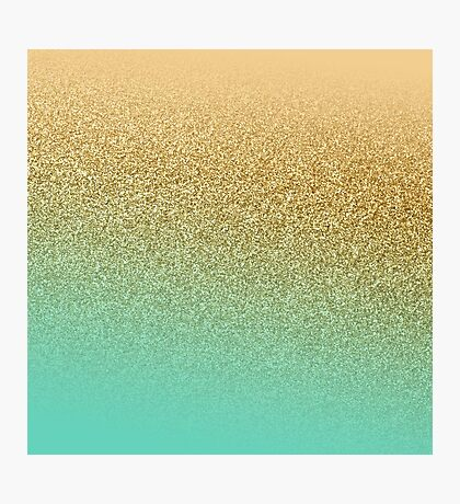 Gold Glitter Aqua Gradient Photographic Print