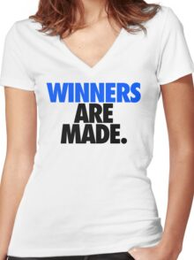 WINNERS ARE MADE. Women's Fitted V-Neck T-Shirt