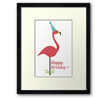 Pink lawn flamingo happy birthday to classy person geek funny nerd Framed Print
