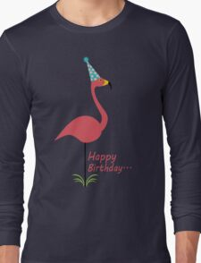 Pink lawn flamingo happy birthday to classy person geek funny nerd Long Sleeve T-Shirt