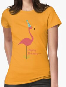 Pink lawn flamingo happy birthday to classy person geek funny nerd Womens Fitted T-Shirt