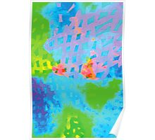 Abstract Blue Green Colorful Water Color Painting Background Poster