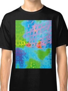 Abstract Blue Green Colorful Water Color Painting Background Classic T-Shirt