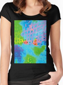 Abstract Blue Green Colorful Water Color Painting Background Women's Fitted Scoop T-Shirt