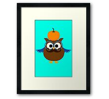 Pumpkin fall owl with mustache geek funny nerd Framed Print