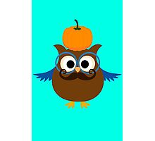 Pumpkin fall owl with mustache geek funny nerd Photographic Print