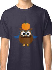 Pumpkin fall owl with mustache geek funny nerd Classic T-Shirt