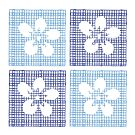 Katazome Flowers on squares by pongologo