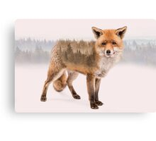 Fox Double Exposure Canvas Print