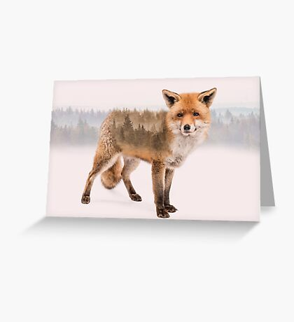 Fox Double Exposure Greeting Card