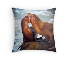 Sea Lions in La Jolla Cove Throw Pillow