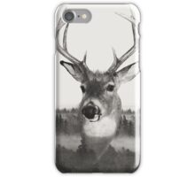 Whitetail Deer Black and White Double Exposure iPhone Case/Skin