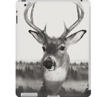 Whitetail Deer Black and White Double Exposure iPad Case/Skin