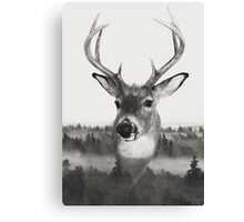 Whitetail Deer Black and White Double Exposure Canvas Print