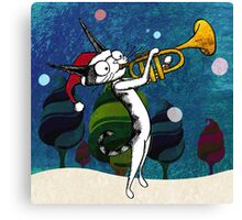 Cat with a trumpet Canvas Print