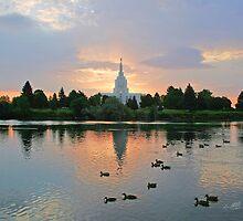 Idaho Falls Temple Early Morning Swim 20x24 by Ken Fortie