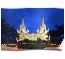 San Diego Temple Evening Rain 20x30 Poster