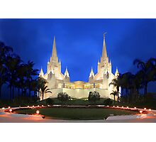 San Diego Temple Evening Rain 20x30 Photographic Print
