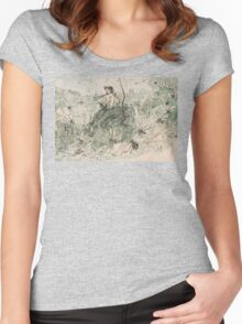 Satyr Playing flute Women's Fitted Scoop T-Shirt