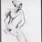 drawing 4 about Nijinsky of Rodin by Pascale Baud