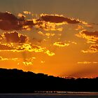 Golden Christmas Sunet - Lake Macquarie NSW Australia by Bev Woodman