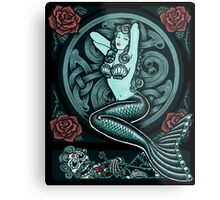 Mermaid and Skull 2 Metal Print