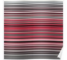 Vibrant red and monochrome horizontal linework Poster