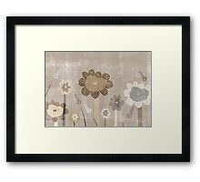 Vintage Sepia Wild Meadow Flowers Framed Print