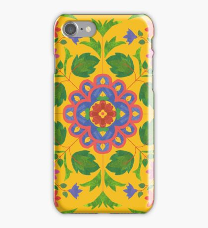 Floral Rangoli Pattern on Yellow iPhone Case/Skin