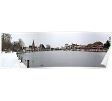 Marlow Bridge in Winter Poster