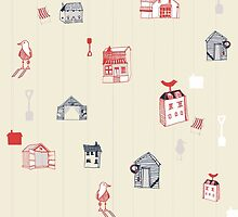 Cute objects house, bird, store by studiojuly