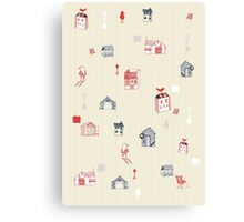 Cute objects house, bird, store Canvas Print