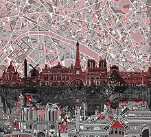 paris skyline abstract 7 by BekimART