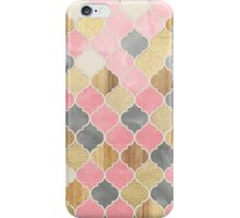 Silver Grey, Soft Pink, Wood & Gold Moroccan Pattern iPhone Case/Skin