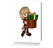 Cute Toon Christmas Elf Carrying Presents Greeting Card