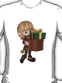 Cute Toon Christmas Elf Carrying Presents T-Shirt