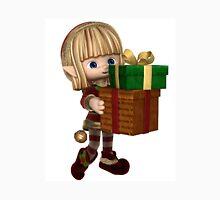 Cute Toon Christmas Elf Carrying Presents Unisex T-Shirt