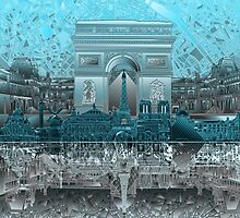 paris skyline abstract 8 by BekimART