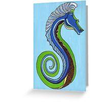Seahorse Blue Greeting Card