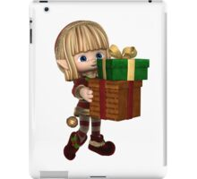 Cute Toon Christmas Elf Carrying Presents iPad Case/Skin