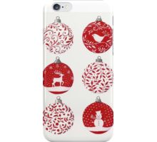 Red and white Christmas baubles iPhone Case/Skin