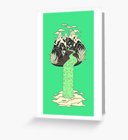 Levitating Island with a Source coming from nowhere Greeting Card