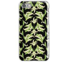 Lily of the Valley Pattern on Black iPhone Case/Skin