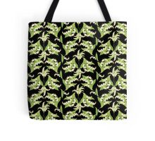 Lily of the Valley Pattern on Black Tote Bag